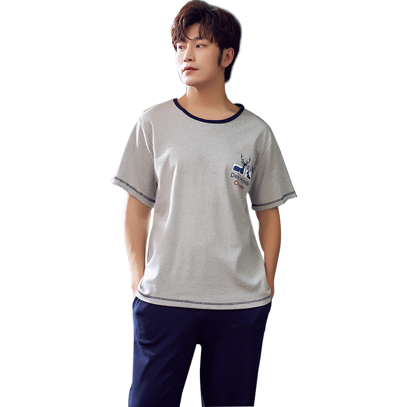 Summer Homewear Clothing For Men Pure Cotton Men's Pajamas Set Short Sleeve O-neck Casual Soft Big Size L-XXL Male Sleepwear