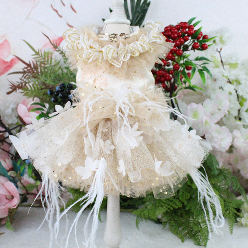 Pet Dog Dress Golden Flash Lace Embroidered For Small Dogs Three-Dimensional Flower Short Style Princess Wedding Dress Chihuahua