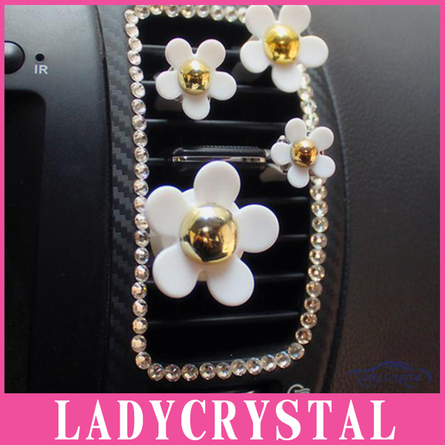 Ladycrystal Auto Interior Decor Accessories Little Daisy With Clamp