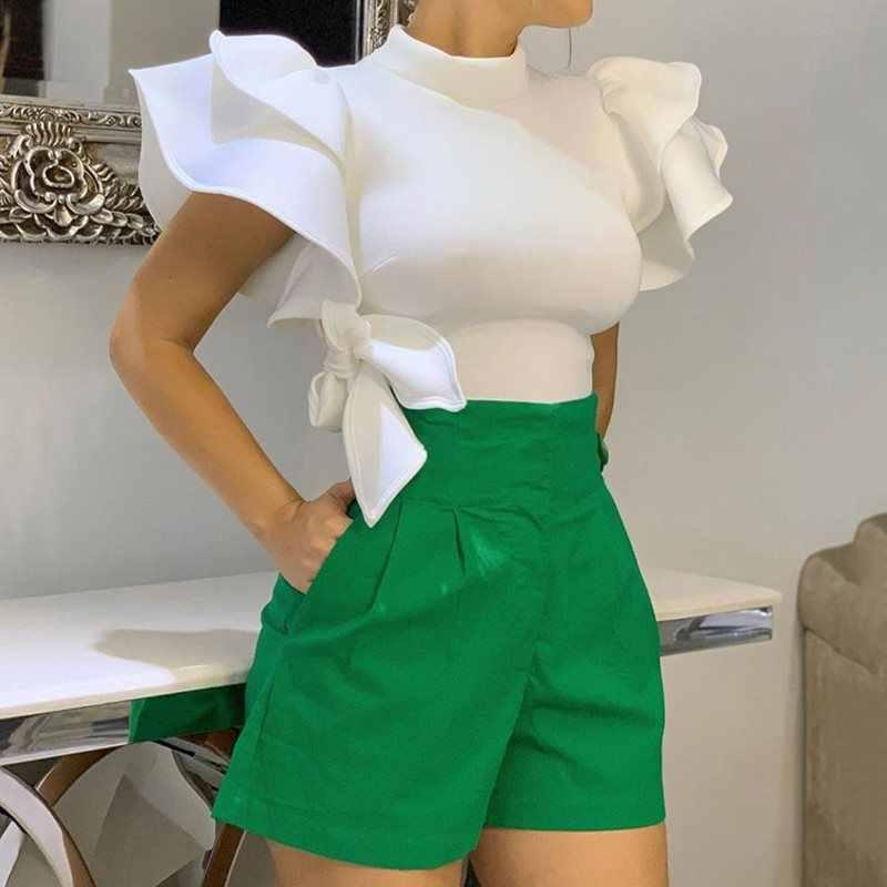 Летние элегантные офисные женские блузки размера плюс, белые женские блузки 2019, облегающие Женские топы с рукавом-стойкой и рюшами, женские топы, шикарные рубашки