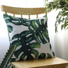 Hot Tropical Plants Palm Leaf Green Leaves Print Monstera Polyester Throw Pillow Cover Sofa Car Home Decorative Pillowcase Gift