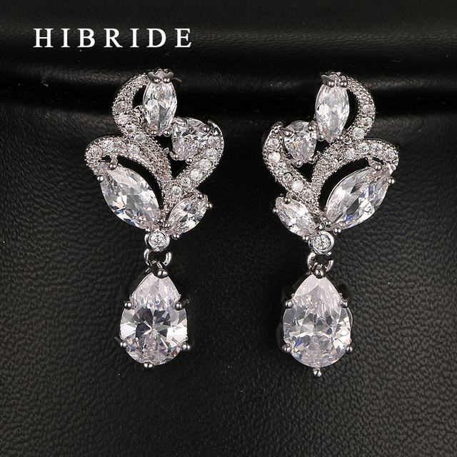Hibride Fashion Cubic Zirconia Drop Earrings White Gold Color Women Bridal Engagement For Gifts