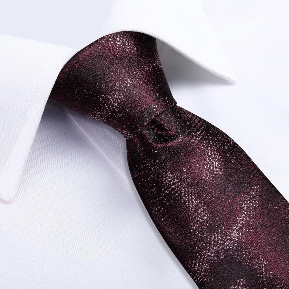 SJT-7227 DiBanGu Luxury Red Men's Gift Tie 100% Silk Tie For Men Handkerchief Cufflinks Neck Tie Business Wedding Party Tie Set