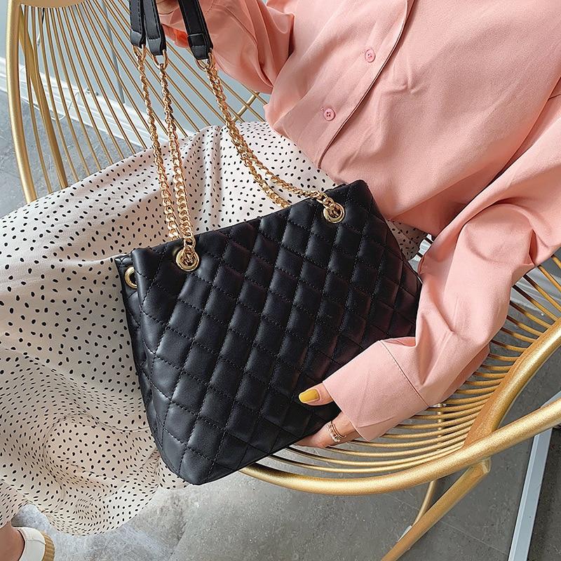 Famous Brand Designer Chain Women Large Capacity Handbags Female 2019 Summer Fashion Plaid Shoulder Bag Crossbody Bag Tote Bag