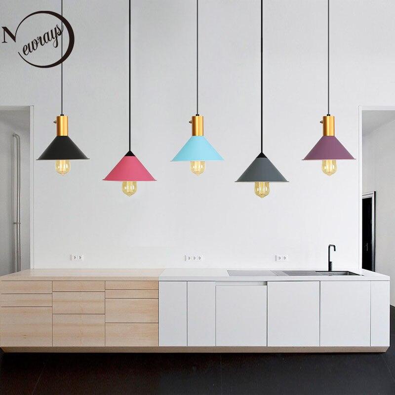 Nordic modern minimalist loft style pendant lamp E27 led single head hanging light for kitchen living room bedroom restaurant