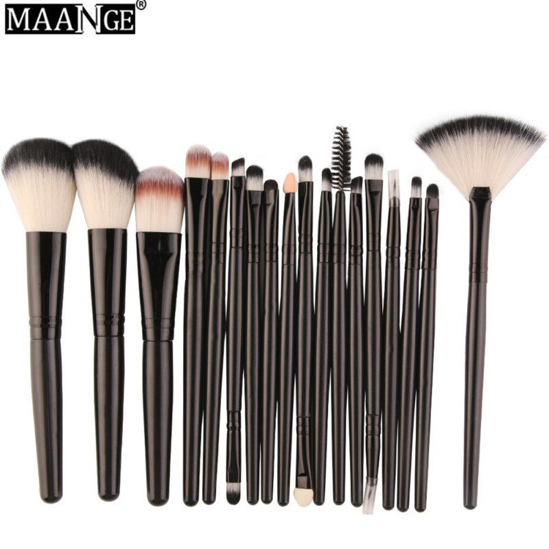 MAANGE Powder Foundation Blush Eyeshadow Eyeliner Lip Make Up Brush Tool Professional 18Pcs Makeup Brushes Set Comestic купить