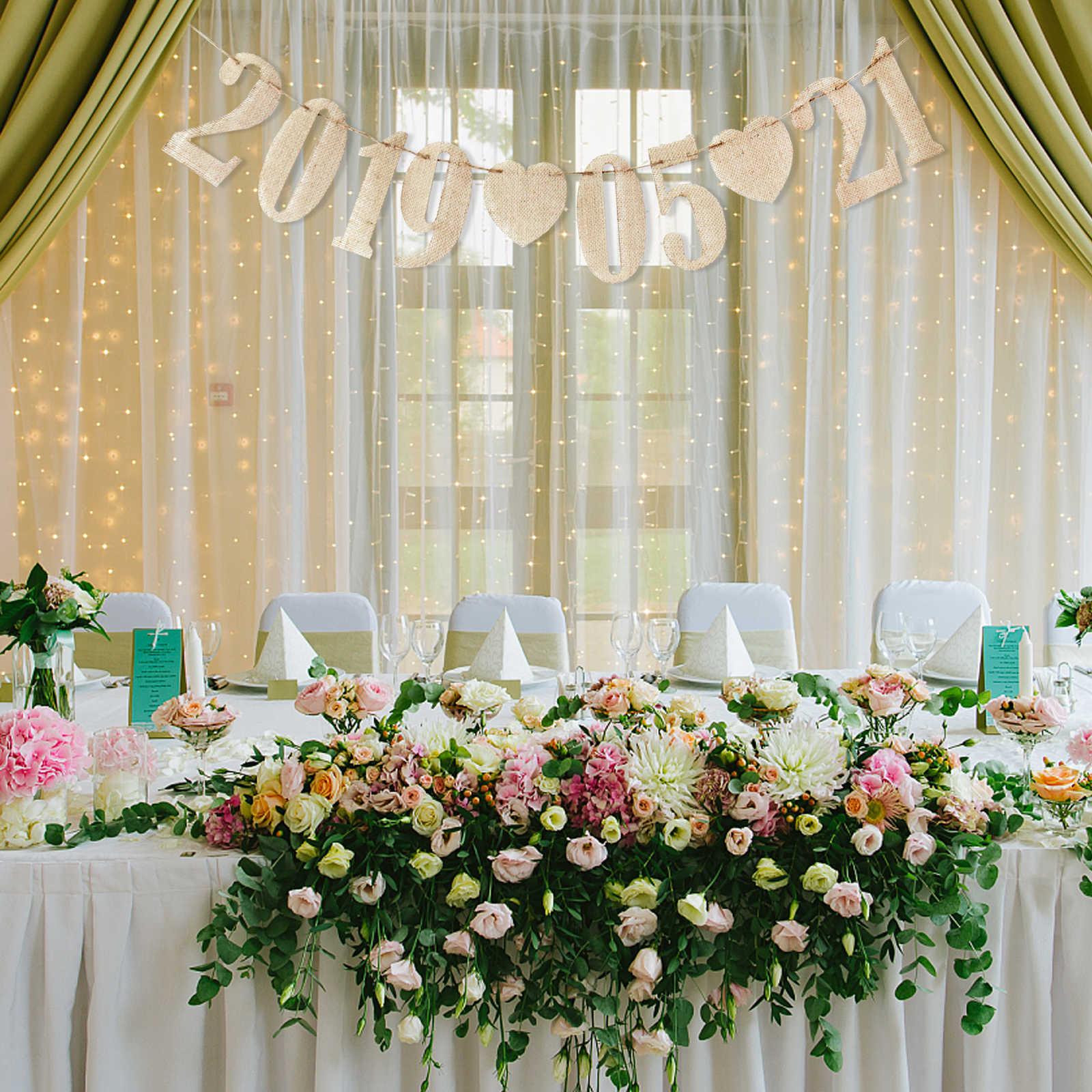 Hessische Jute Jute Nummers en Harten Decoratie 0-9 Tafel Teken DIY Bunting Banner Garland Gelukkige Verjaardag Wedding Party supply