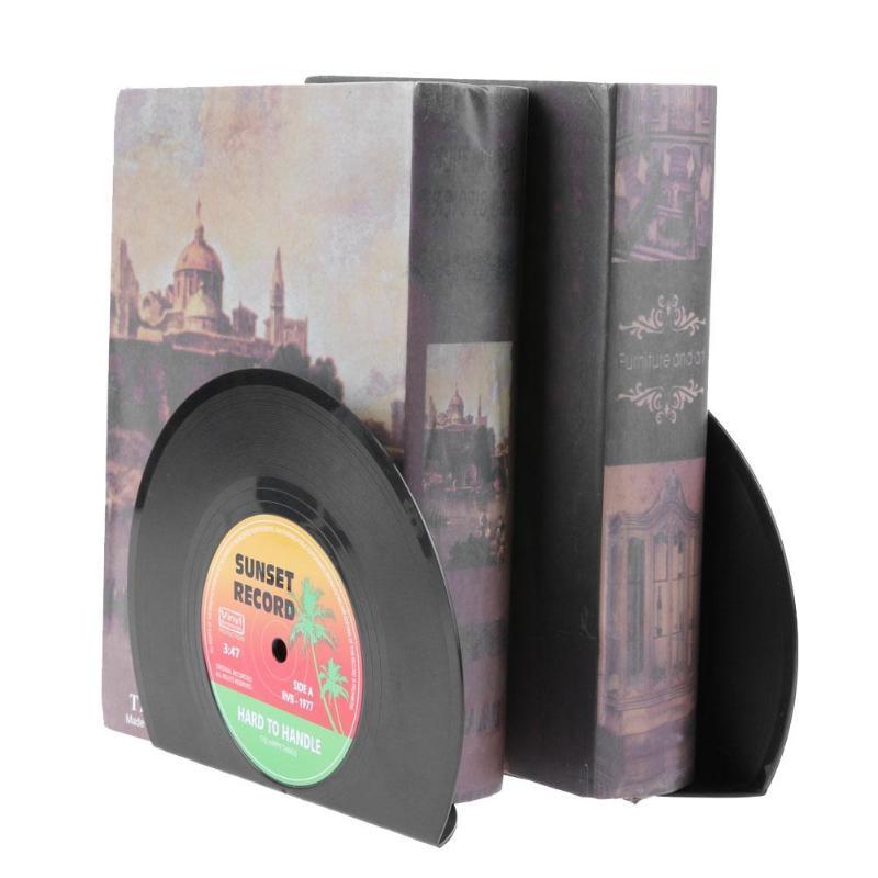 2pcs Vinyl Record Shaped Book Shelves Holders Fashion Book Holder Stand Retro Style Desktop Shelf School Office Supplies Gifts