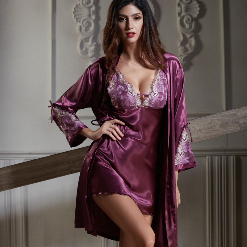 Xifenni Robe Sets Female Faux Silk Sleepwear Women Satin Silk Bathrobe Night Gown Set Red Sexy Deep V-Neck Sleeping Robes 6625