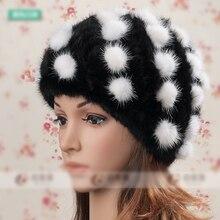 Горячая распродажа новая зимняя норки дамы кепка мода теплый женские шапки