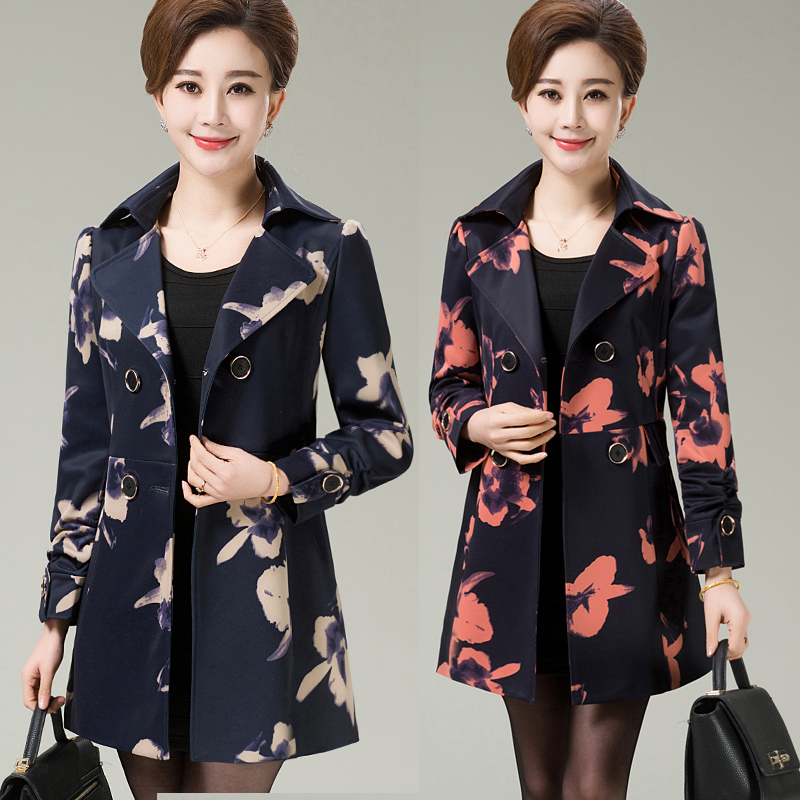 Middle-Aged Women Windbreaker   Trench   2019 Spring Autumn Printing Women   Trench   Coat Plus Size 5XL