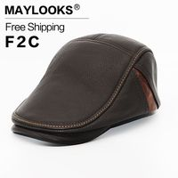Men Genuine Leather Newsboy Hat Cap Gatsby Flat Golf Cabbie Baker Beret Retro Brand New Men