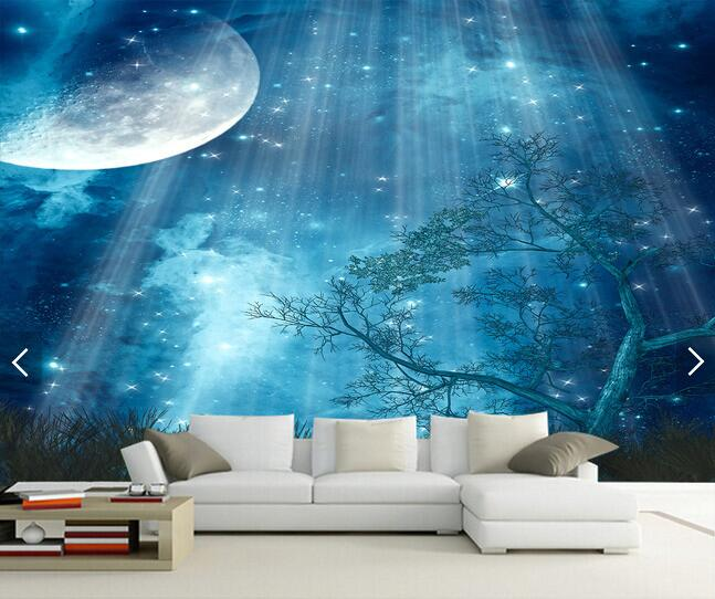 Aliexpress.com : Buy 3d Wallpaper Custom Mural Non Woven 3d Room Wallpaper  Beautiful Sky Tree At Night Paintings Photo 3d Wall Murals Wallpaper From  ... Part 20