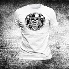 d1bee1e0d4 2018 Verão Em Torno Do Pescoço Camiseta T-Shirt Dos Homens da Moda Cowboy  Crânio Americano Eua Camisa Cowboy Westen Wilder G38T .