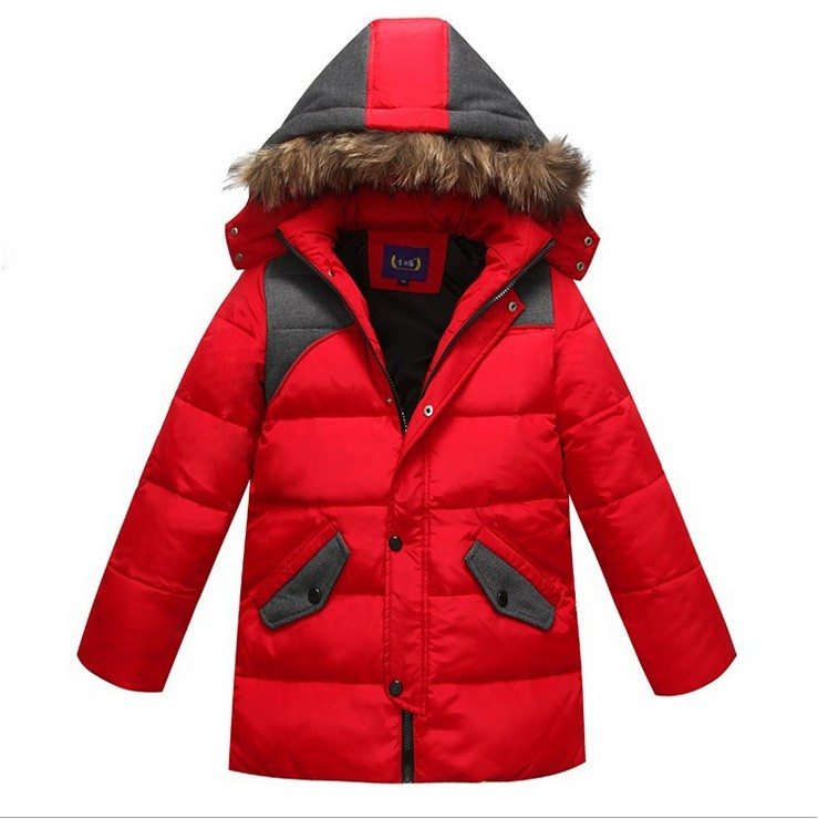 2016 Children Winter Clothes for kids baby boy Ski Suit fur hooded teenage Warm long Coats