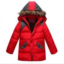 2016 Дети Зимняя Одежда для детей мальчик Лыжный Костюм меха с капюшоном подросток теплый длинные пальто куртки спорт снег костюм boy dress