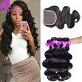 4 связки Бразильского виргинские волос с lace closure 10 необработанные Бразильский объемной волны человеческих волос weave связки с clsoure
