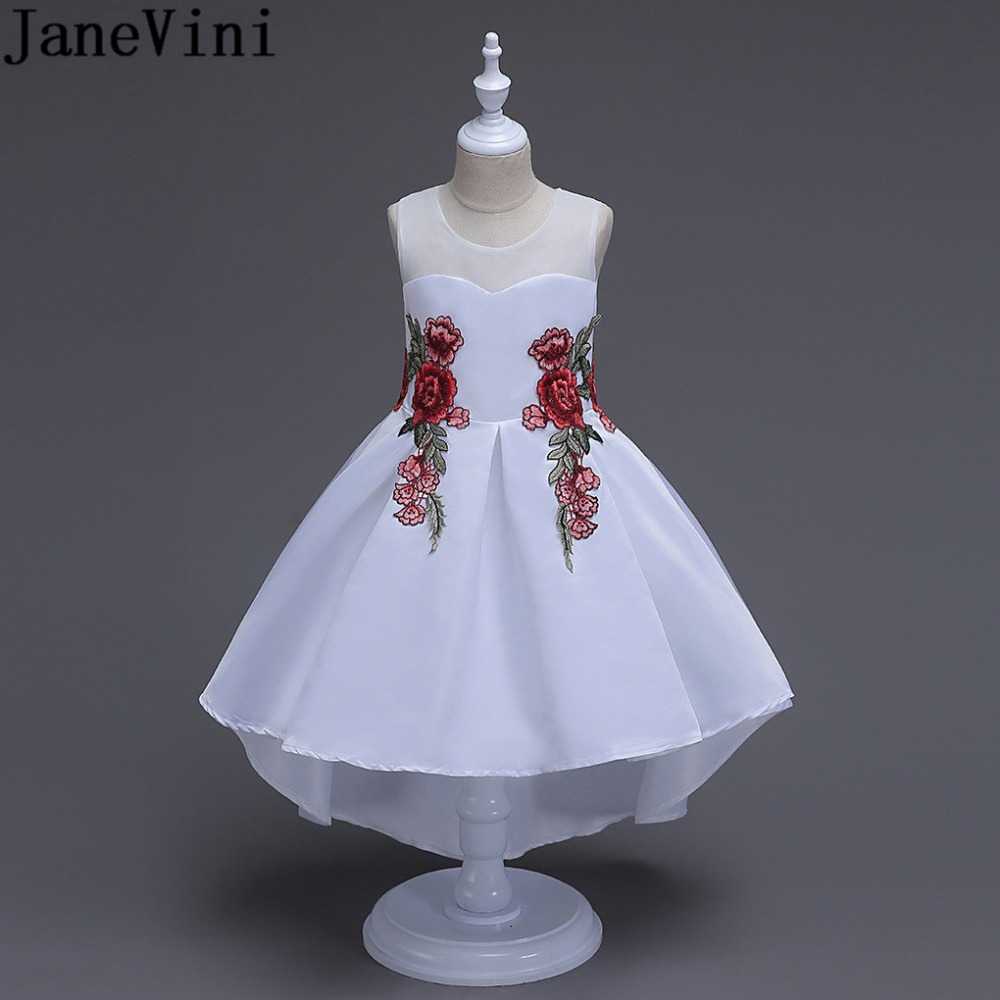 JaneVini Princess White   Girls     Flower     Girl     Dresses   With Embroidery Appliques High Low Child Kids Wedding Party Communion   Dresses