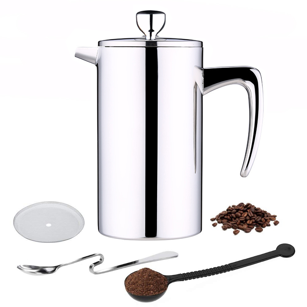 ROKENE Stainless Steel French Press Coffee Percolators Maker Double Walled Construction 3 Pieces Gifts