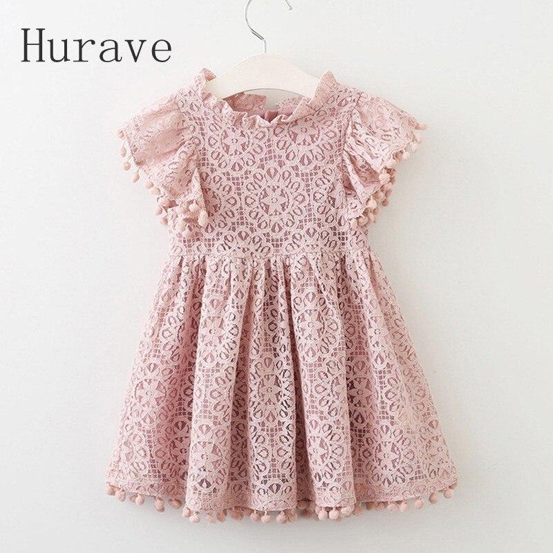Hurave 2017 Sommer mädchen kleid spitzenkleid für kinder kleidung mode quaste kleider prinzessin kinder sommer vestidos