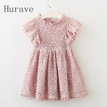 Hurave 2017 Летнее платье для девочек кружевное платье для модная детская одежда с бахромой платья принцессы дети лето vestidos