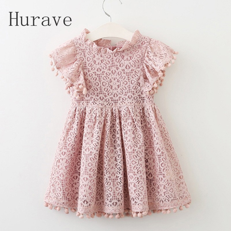 Hurave 2017 Summer Girls Dress Lace Dress For Kids Clothes Fashion Tassel Dresses Princess Children Summer