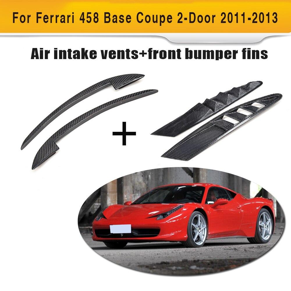 Углеродное волокно спереди воздухозаборника отверстия потока и переднего бампера крыло canards чехол для Ferrari 458 Base Coupe 2 двери 2011 2013 4 шт.