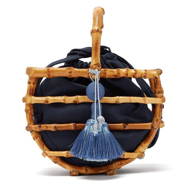 LJL-Women Bamboo Bucket Tassel Bag Handbag For Travel Wooden Beach Bag Ladies Bamboo And Rattan Bag For SummerLJL-Women Bamboo Bucket Tassel Bag Handbag For Travel Wooden Beach Bag Ladies Bamboo And Rattan Bag For Summer