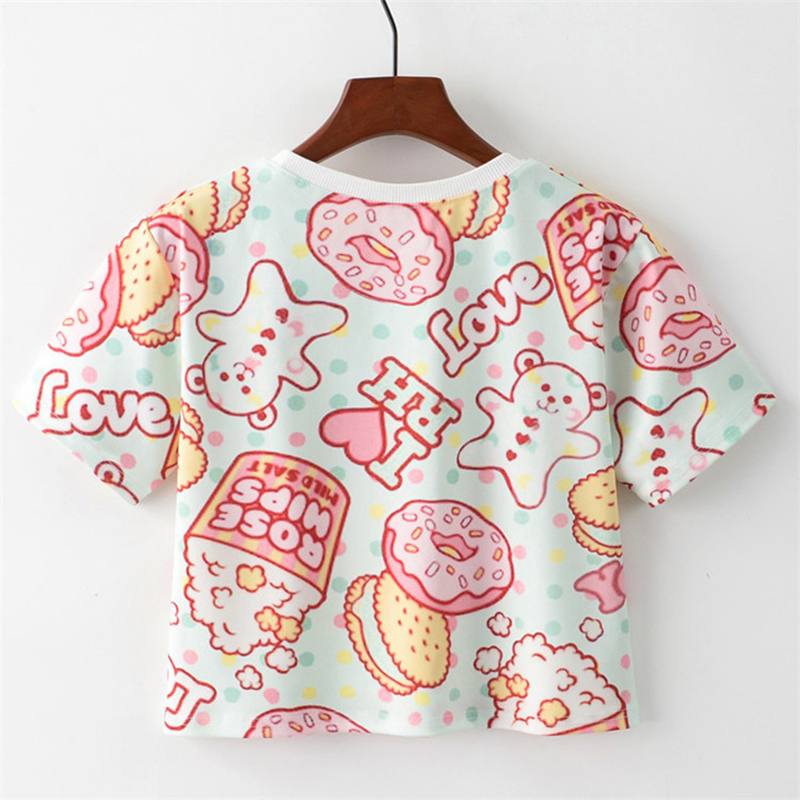 MITTELMEER 2018 Summer kawaii t Shirt Girls Student Women Harajuku Short Sleeve Cartoon Hamburger T-Shirts Tee 1