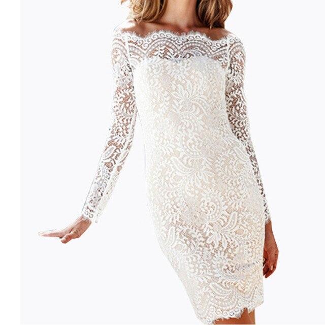 7657187b72 2019 moda lato kobiety eleganckie sukienki Mini panie Off Shoulder Party  Sexy koronki Clubwear Plus rozmiar