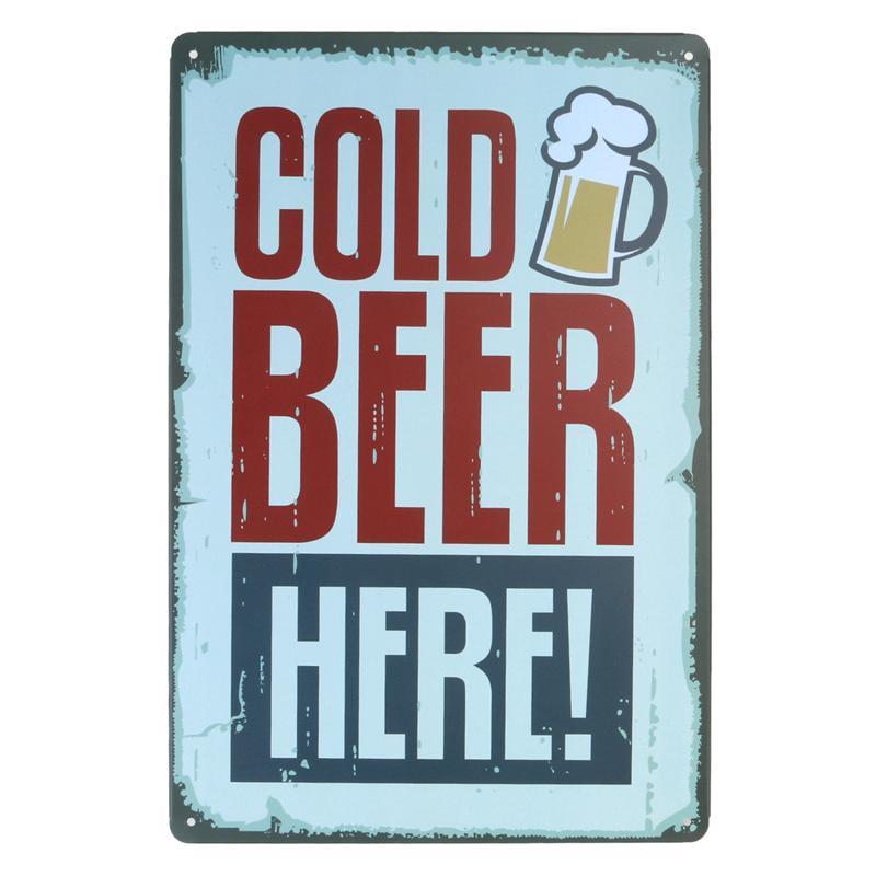 rétro vintage en aluminium SIGNE CADEAU Bar//Pub HOMME CAVE Bière froide ici