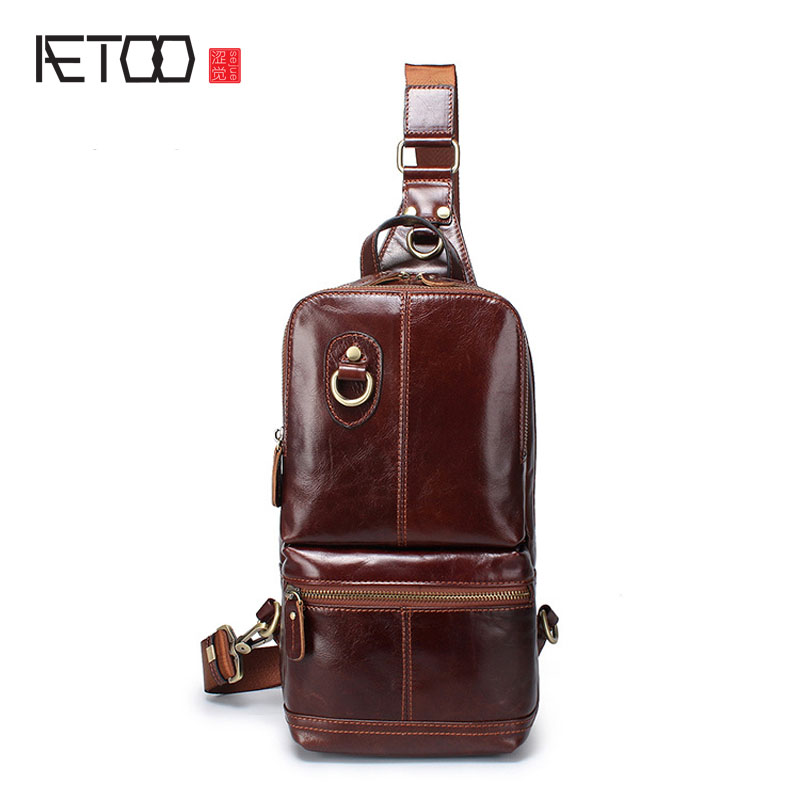 AETOO New men fashion Europe and the United States tide chest bag genuine leather first layer of leather messenger bag men new europe and the united states fashion oil wax head layer of leather portable retro shoulder bag heart shaped color embossed h