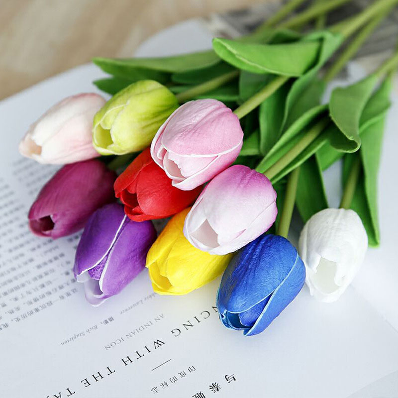 1/10 Pcs Beauty Real Touch Flowers Latex Tulips Flower Artificial Bouquet Fake Bbridal Bouquet Decorate Flowers For Wedding