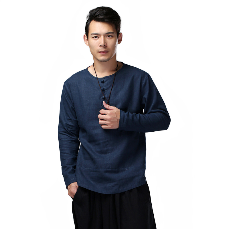 LZJN 2019 Spring Autumn Men Shirt Long Sleeve Solid Flax Blouse Traditional Chinese Tops Linen Ethnic Blusas Camisa Masculina