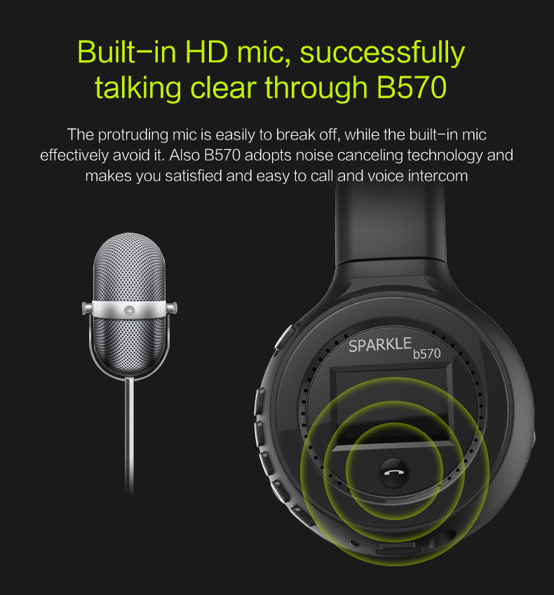 Zealot B570 Earphone Headphone with LCD Screen Bluetooth Headphone Foldable Hifi Stereo Wireless Headset FM Radio TF SD Slot 14
