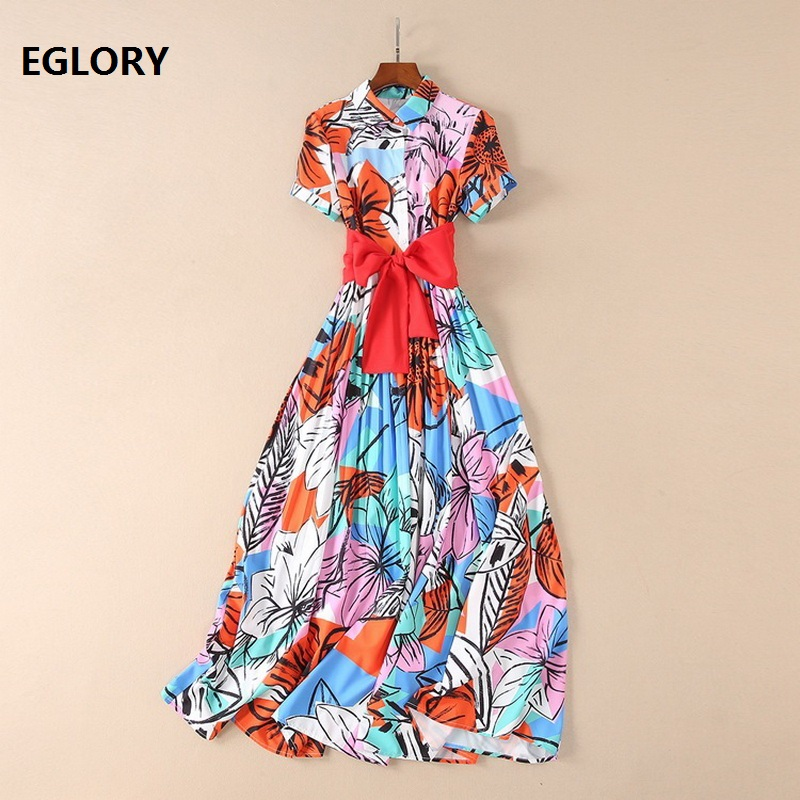 New Chic Womens Long Summer Dress 2018 Casual Ladies Turn-down Collar Abstract Art Print Wide Bow Belt Elegant Maxi Dress Beach