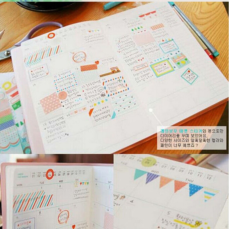 Obedient 6 Pcs/lot Rainbow Colored Paper Sticker Planner Decorative Sticker Scrapbooking Diary Stationery 8.3*13.5cm Pleasant In After-Taste Memo Pads