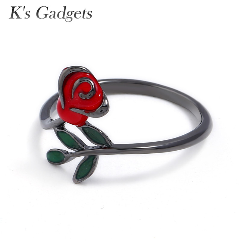 US $5 33 51% OFF|K'S Gadgets Simple Enamel Red Flower Ring Unique Design  Simple Black Ring For Women Bague Femme Gifts for Women-in Rings from  Jewelry