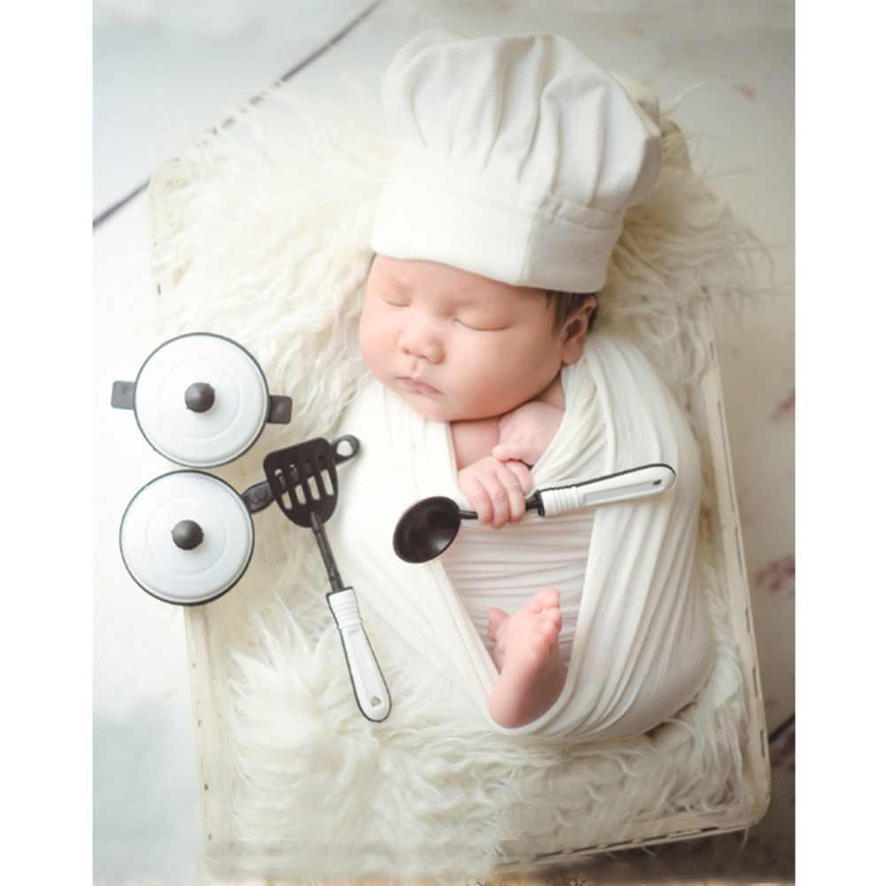 Baby Fotografie Props Little Chef Hoed Wit Stretch Wrap Little Cook Creatieve Props Pasgeboren Fotografie Accessoires