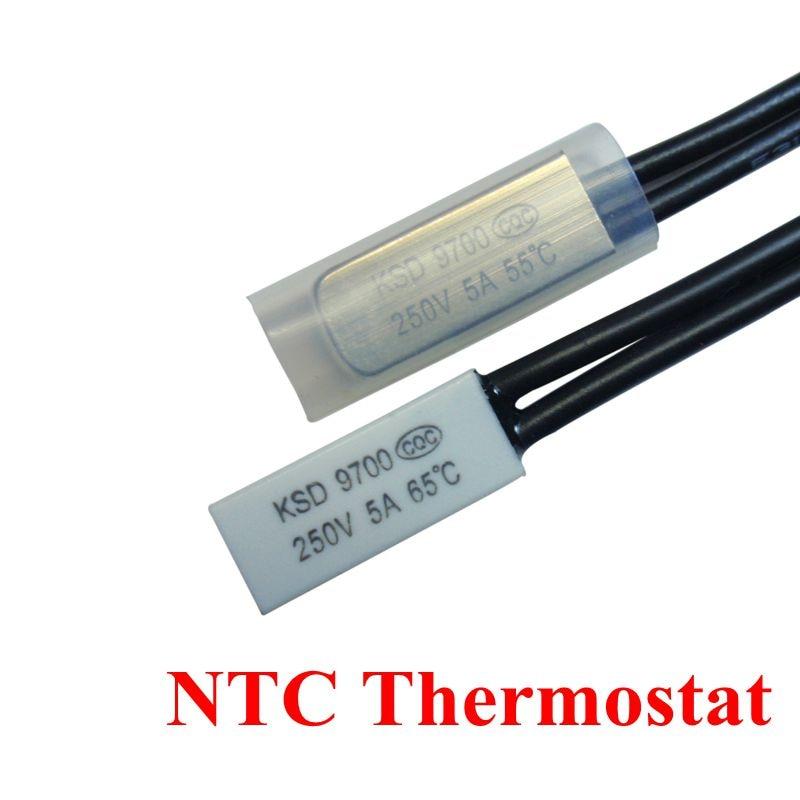50pcs Thermostat 10C 240C KSD9700 10C 15C 20C 25C 35C 35C Bimetal Disc Temperature Switch NO