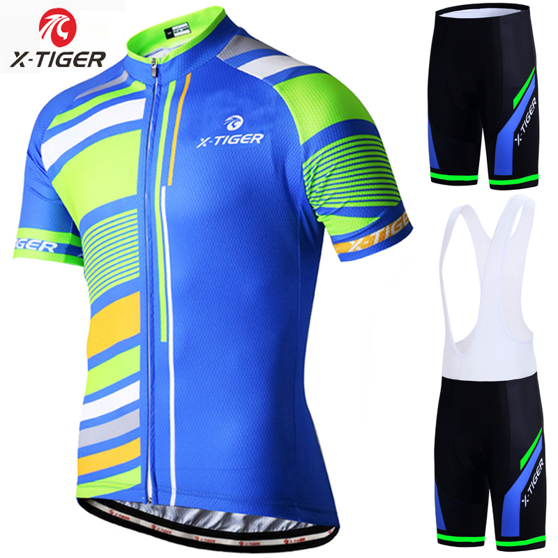 X-Tiger Summer Pro Cycling Jersey set Ropa Ciclismo Mountain Bike Clothing Breathable Mans Bicycle Clothes Jersey Sportswear veobike 2017 pro men cycling jersey set breathable mtb clothes quick dry bicycle summer sportswear bike jerseys ropa ciclismo