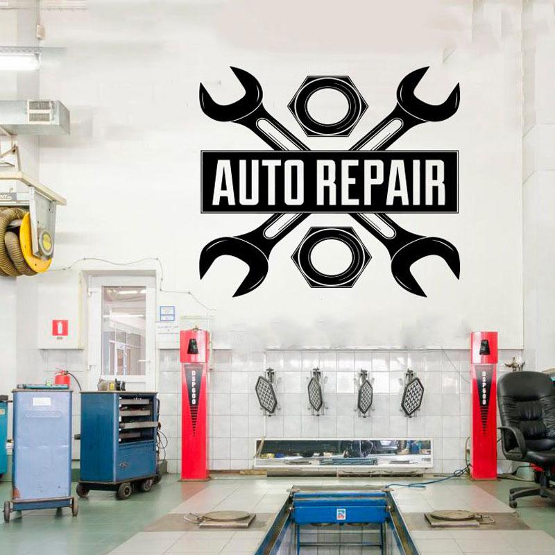 Car Auto Repair Logo Auto Service Vinyl Sticker roll Tires Repair car Studio Shop Window Sticker waterproof CS19 in Wall Stickers from Home Garden