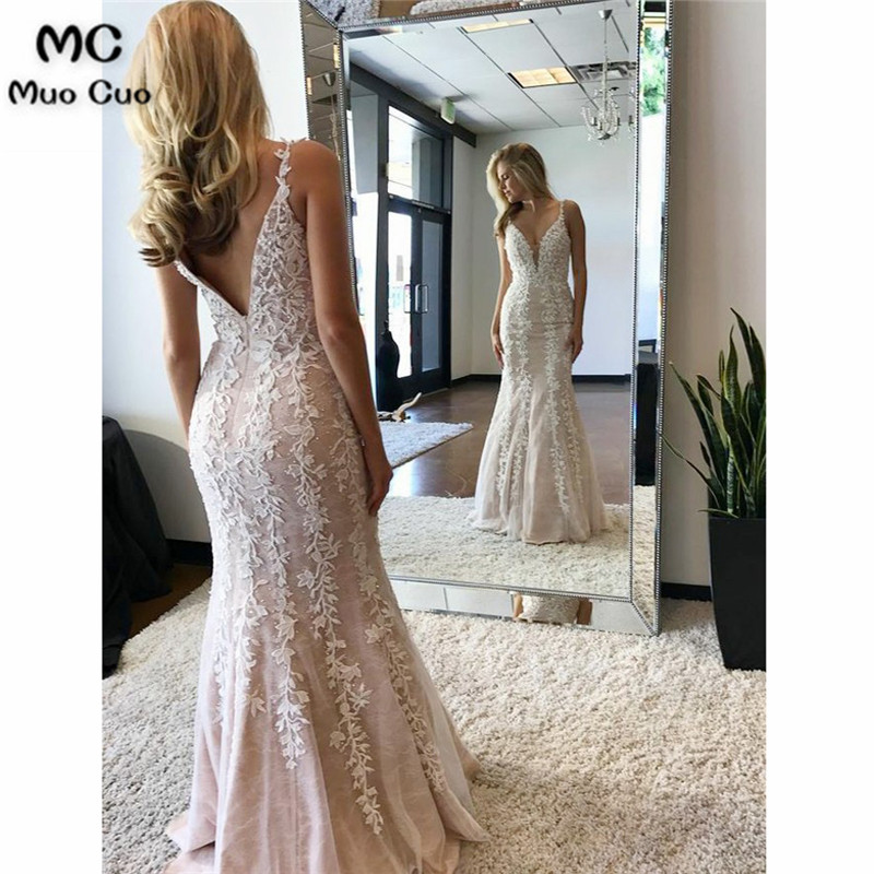 2018 Mermaid   Prom     dresses   Long white Appliques Sleeveless Vestidos de fiesta   dress   for graduation Tulle Formal Evening   Dress