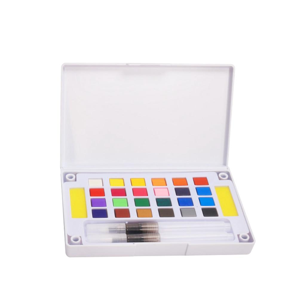 12/18/24/36 Colors Bright Color Pigment Watercolor Palette Paint Set Portable Travel Solid Paint Box With Brush Art Supplies