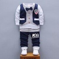 Baby Boys Autumn Clothes Sets Long Sleeve Shirt Cotton Suit Toddler Boy Little Gentleman Bow Tie