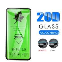 25 adet 20D temperli cam tam tutkal kapsama ekran koruyucu koruyucu Film iPhone 11 Pro XS XR XS max