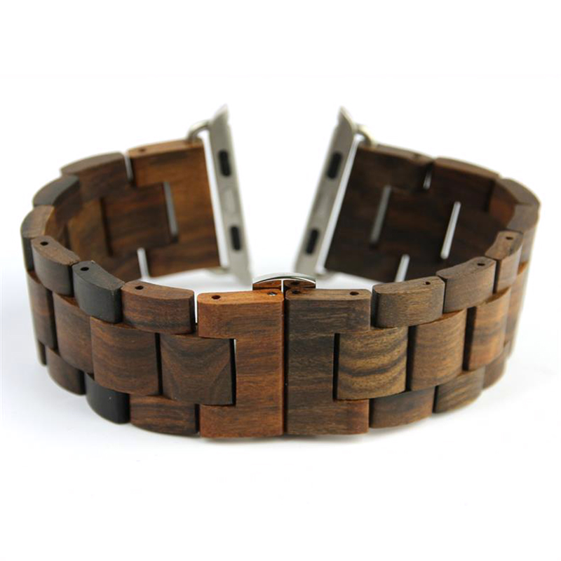 100% New Retro Natural Bamboo Watchbands Wood Watch strap 1:1 For iWatch Wooden band with Adaptor For Apple Watch Band 38mm 42mm 2016 new retro 100