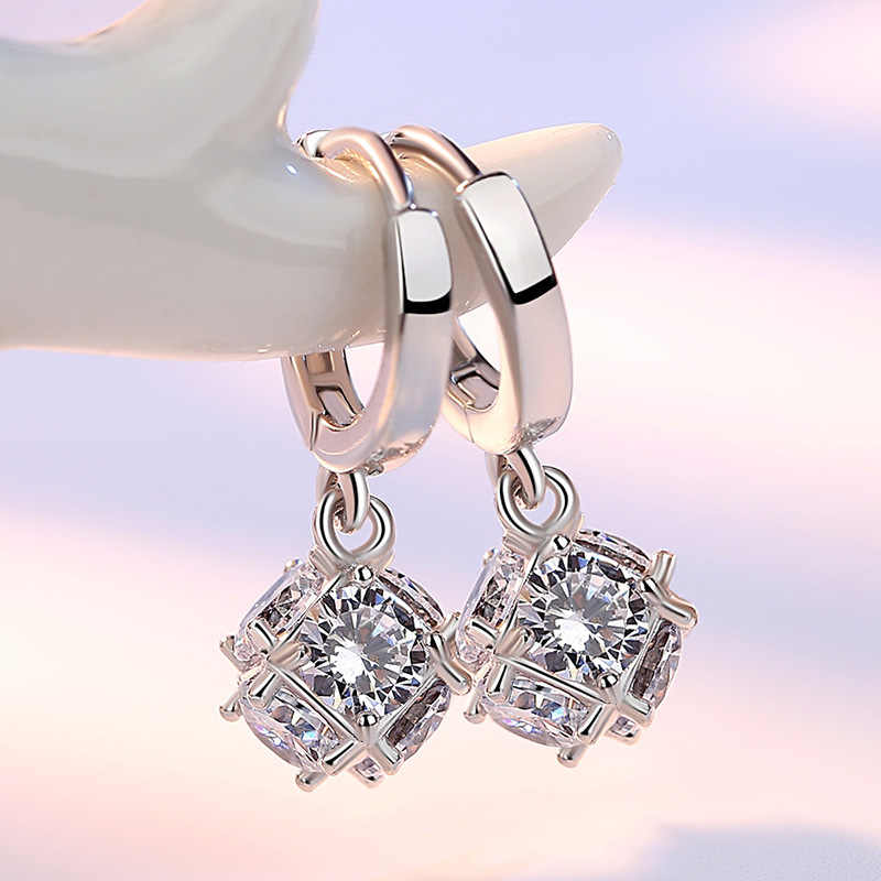 Silver Zircon Crystal Stud Earrings For Women geometric cube Earring Rhinestone aretes Pendiente oorbellen Earrings J89-5