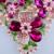 Fúcsia Strass Banhado A Ouro Conjunto Colar Rosa Pérola Simulada Declaração Flor Planta Nupcial Festa de Casamento Conjunto de Jóias de Pérolas