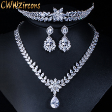 CWWZircons Luxury Wedding Party Hair Jewelry Accessories Cubic Zirconia Bridal Necklace Earring Tiaras and Crowns Sets T148